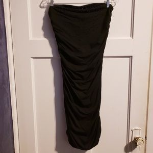 Strapless ruched black dress with beaded chest EUC